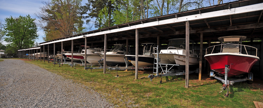 image of boat stored on a boat shed
